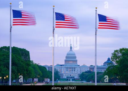 USA Washington DC The Capital Building viewed through the stars and Stripes - Stock Photo
