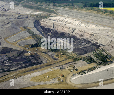 brown coal digging near Leipzig, digger, Germany, Saxony - Stock Photo