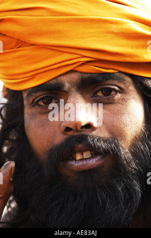 Portrait of a young Sadhu a holy man in Hindu belief and tradition Nepal 2007 - Stock Photo