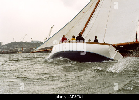 Falmouth working boat racing on the Carrick Roads - Stock Photo