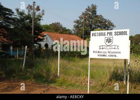 Sign outside the Victoria Primary School Kisumu Kenya East Africa - Stock Photo