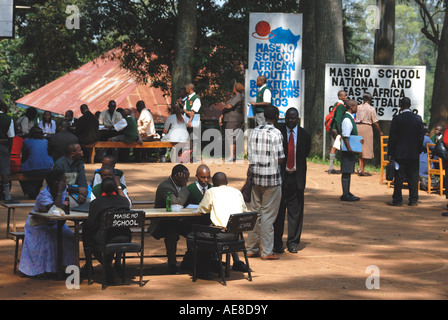 Parents meeting members of staff to discuss the progress of their sons at Maseno School Kenya East Africa - Stock Photo