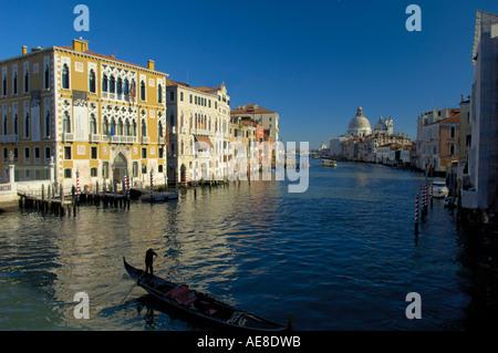 View from Academia Bridge towards Santa Maria Della Salute, Venice - Stock Photo