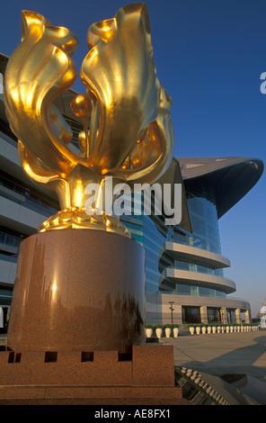 Golden Bauhinia reunification statue, Exhibition Centre, Hong Kong, China - Stock Photo