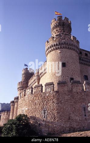 Castillo de los Mendoza Castle Manzanares el Real Community of Madrid Spain - Stock Photo