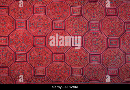 Silk embroidered textile Hmong hilltribes Northern Thailand - Stock Photo