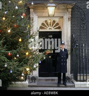 10 Downing Street door and Christmas tree - Stock Photo