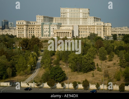 The Parliament Palace, People Palace and its gardens, aerial back, rear view Bucharest, Romania, Europe, EU - Stock Photo