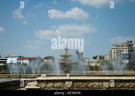 Fountains at Union Square, Piata Unirii, Bucharest, Romania, Europe, EU - Stock Photo