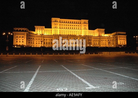 The 2nd biggest architecture in the world of People, Parliament Palace at night, Bucharest, Romania, Europe, EU - Stock Photo