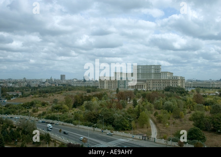 Ariel view of the 2nd biggest architecture, People, Parliament Palace and its surrounded gardens Bucharest, Romania, - Stock Photo