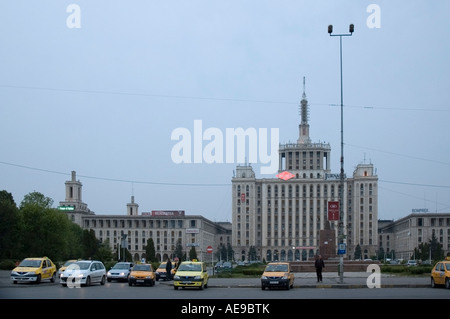 The Free Press building  at dusk,, Bucharest, Romania, Europe, EU - Stock Photo