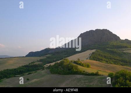 View of Pietra Parcellara from Pietra Perduca Valtrebbia Italy - Stock Photo