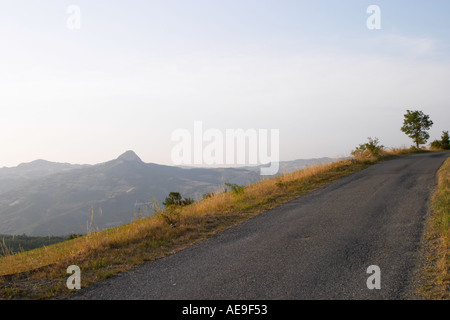 Panoramic view of Valtrebbia with Pietra Parcellara in the background Italy - Stock Photo
