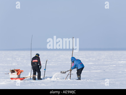 Two fishermen clearing the snow from the hole in the ice for net fishing on sea ice at Baltic Sea , Gulf of Bothnia - Stock Photo