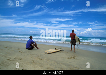 Sri Lanka Hikkaduwa Surfers on Hikkaduwa beach - Stock Photo
