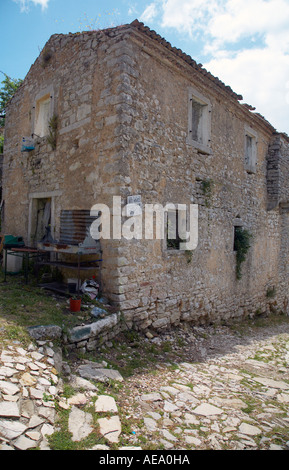 Deserted house in the semi abandoned town of Old Perithia - Stock Photo