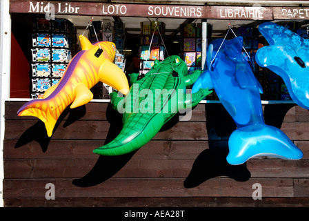 A row of brightly coloured seaside inflatable creatures hang outside a tourist gift shop - Stock Photo
