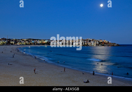 Bondi beach at night, Australia.. It's Sydney's most famous beach and one of the best urban beach in the world. - Stock Photo