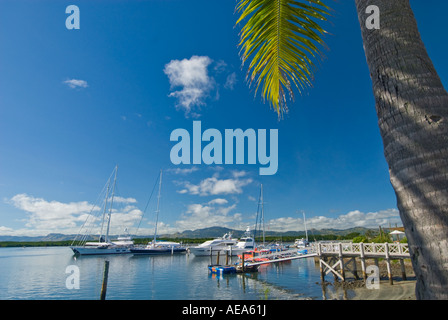 FIJI ISLANDS NADI port harbour harbor  South southsea sea  Pacific sailing sail boat ship shipping sports fun leisure - Stock Photo
