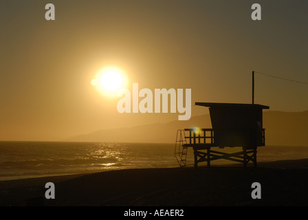 Sunset over the beach at Point Dume, Malibu, CA. - Stock Photo