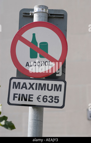no alcohol sign Cork City Ireland - ban on drinking alcohol in public on the street - Stock Photo
