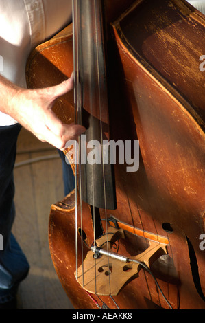 Man playing stand up acoustic bass The Courtyard Arts Centre Hereford Herefordshire, England UK - Stock Photo
