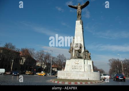 Statue Aviatorilor pilot statue Eroilor Aerului Bucharest, Romania, Europe, EU - Stock Photo
