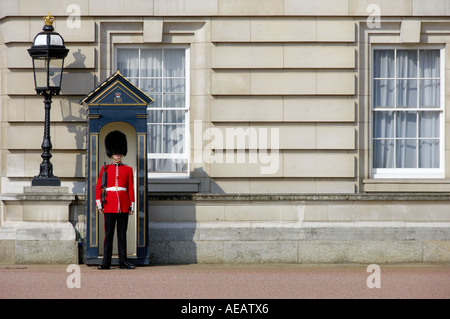Grenadier Royal Guard at Buckingham Palace London United Kingdom - Stock Photo