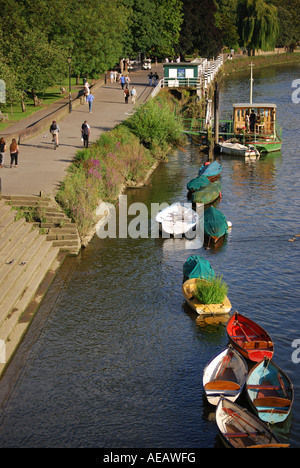 Boats on towpath, Richmond, Richmond Upon Thames, Greater London, England, United Kingdom - Stock Photo