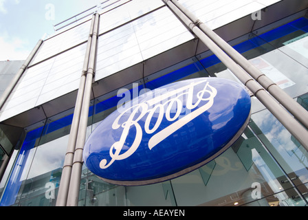 Boots chemist shop sign on Oxford street in central London UK - Stock Photo