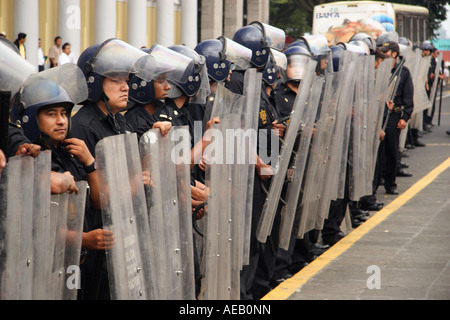 A line of Mexican police officers in riot gear in the city of Xalapa (Jalapa), Veracruz, Mexico. Stock Photo