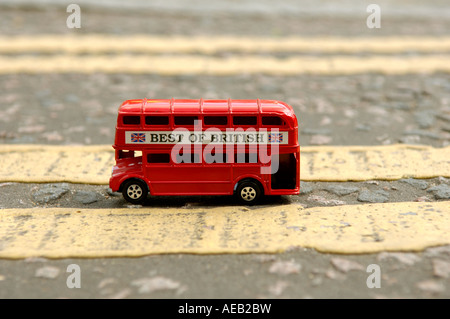 Pic by Howard Barlow TOY LONDON RED BUS parked on DOUBLE YELLOW LINES - Stock Photo