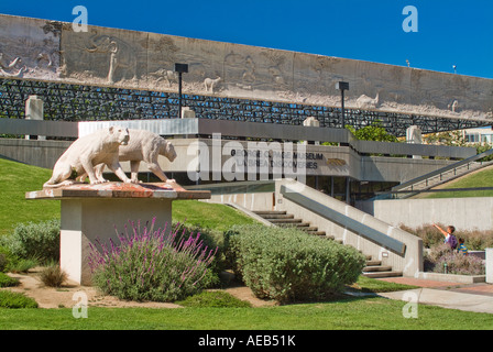 Exterior Facade of George C Page Natural History Discovery Museum at Rancho La Brea Tar Pits in Los Angeles California - Stock Photo