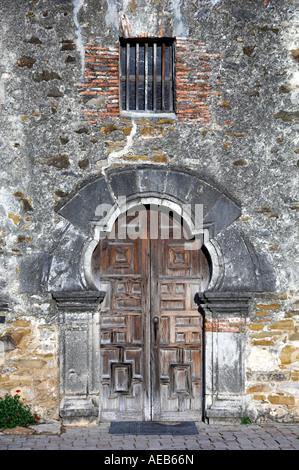 Door and entrance to the Mission San Francisco de la Espada in San Antonio Texas USA - Stock Photo
