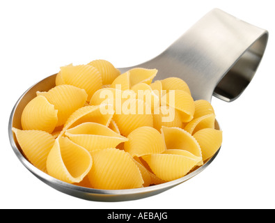 SPOONFUL OF CONCHIGLIE PASTA CUT OUT - Stock Photo
