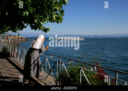 Look over Lake of Constance of the seafront in the harbour sea castle of Baden Wurttemberg Germany Blick über den - Stock Photo