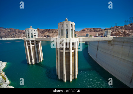 Hoover or Boulder Dam intake or penstock towers on the Nevada side. Lake Mead with extreme low water level.