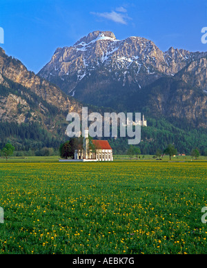 Germany Bavaria Oberbayern St Coloman Church and Castle - Stock Photo