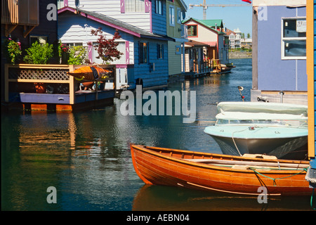 Houseboats at Fisherman's Wharf in Victoria Harbour, British Columbia - Stock Photo