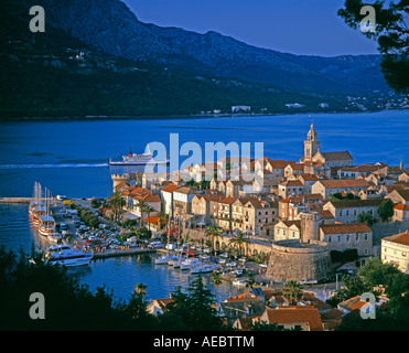 Elevated view over Korcula Town Old Town of Korcula Korcula Island Dalmatia Dalmatian coast Croatia Europe - Stock Photo