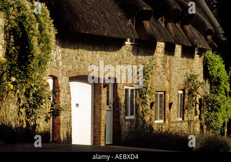 Thatch cottages in Amberley Sussex England - Stock Photo