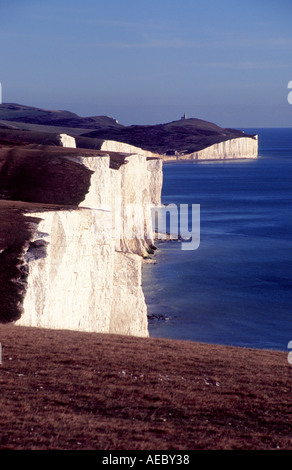 The cliffs of Beachy Head Sussex also known as the Seven Sisters viewed from the west - Stock Photo