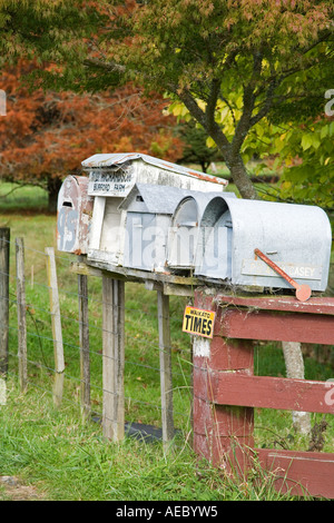 Letterboxes King Country North Island New Zealand - Stock Photo