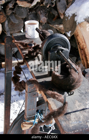 Spinning machine which initiated the industrial revolution, Himachal Pradesh India - Stock Photo