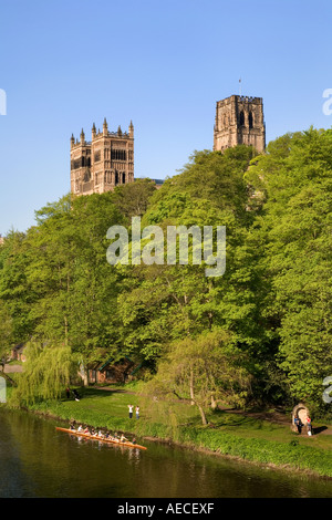 Rowers on The River Wear below Durham Cathedral Durham England - Stock Photo