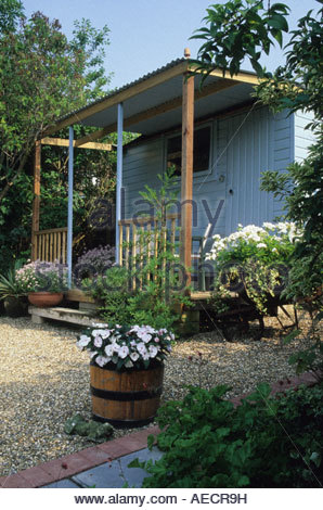 farm fields sanderstead surrey design alan titchmarsh garden shed painted blue and added porch stock