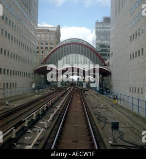 Docklands Light Railway track at Canary Wharf Station London England UK - Stock Photo