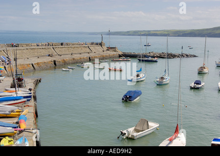 Boats in Harbour New Quay Ceredigion West Wales - Stock Photo