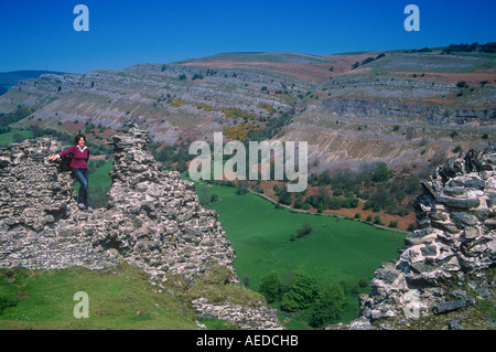 Walker on Castell Dinas Bran Llangollen Denbighshire North East Wales - Stock Photo